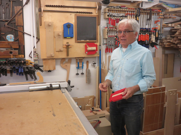 Gary sharing some of the secrets of his organized shop during the Sept. AWA shop tour.